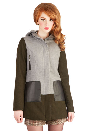 Katie's Adventure Timeless Coat - Faux Fur, Long, 3, Pockets, Fall, Exposed zipper, Casual, Vintage Inspired, 60s, Hoodie, Good, Long Sleeve, Green, Multi
