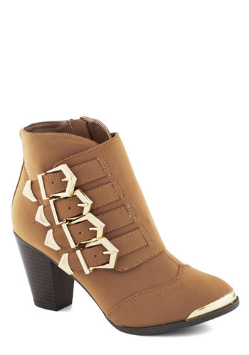 Buckle Up, Chum! Bootie - Mid, Faux Leather, Tan, Solid, Buckles, Good, Festival, Gals, Social Placements