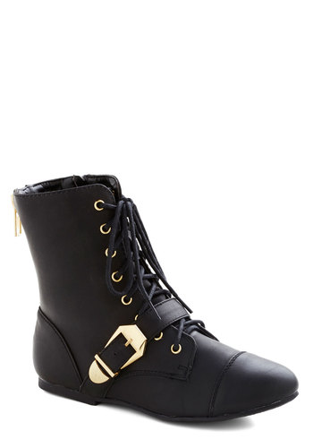 B-Side by Side Boot - Flat, Faux Leather, Black, Solid, Buckles, Exposed zipper, Good, Lace Up
