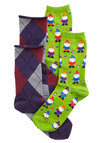 Gnome It All Along Sock Set - Argyle, Quirky, Better, Knit, Novelty Print, Casual, Gifts Sale, Multi, Green, Purple