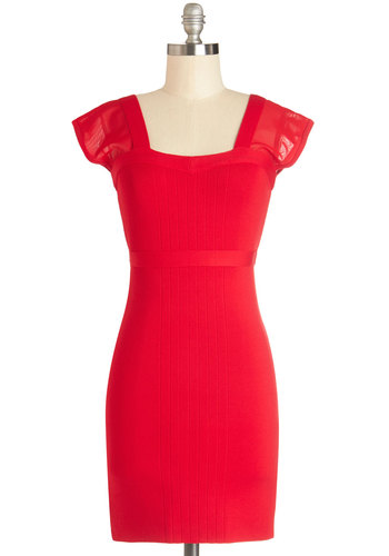 Hey, Sultry Sister Dress - Sheer, Knit, Short, Red, Solid, Party, Bodycon / Bandage, Cap Sleeves, Valentine's