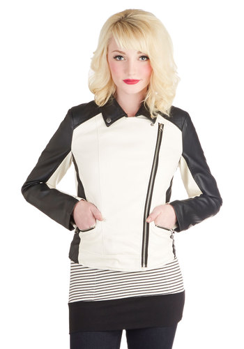 Serious Style Jacket - Faux Leather, Short, 2, White, Solid, Exposed zipper, Pockets, Urban, Colorblocking, Long Sleeve, Multi, Winter