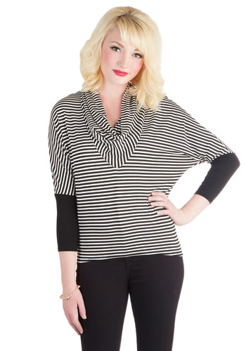 Free Weekend Top - Jersey, Knit, Mid-length, Stripes, Casual, Vintage Inspired, 80s, Good, Cowl, Black, 3/4 Sleeve, Black, 3/4 Sleeve, White
