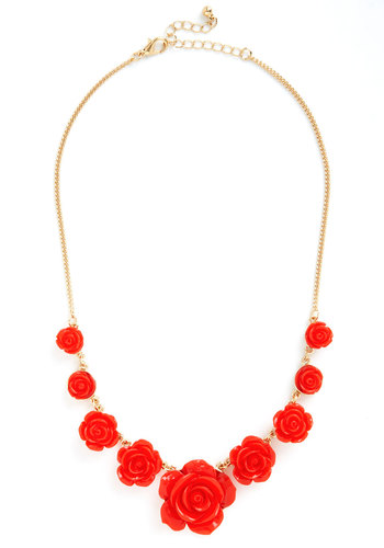 Bead of Roses Necklace - Red, Solid, Flower, Gold, Good, Valentine's