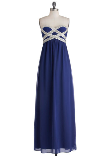 Own the Spotlight Dress in Blue - Blue, Silver, Beads, Special Occasion, Prom, Maxi, Strapless, Sweetheart, Chiffon, Woven, Long, Sequins, Homecoming