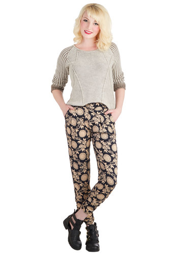Plan Your Route Pants - Blue, Tan / Cream, Good, Woven, Floral, Pockets, Skinny