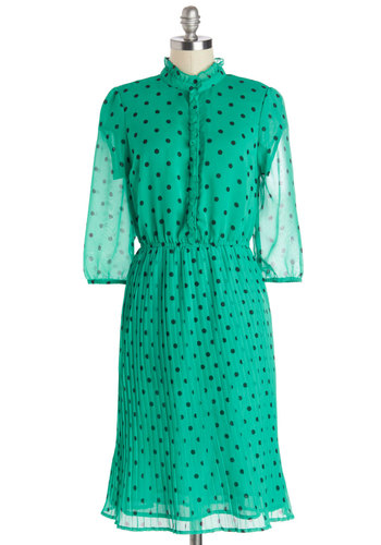 Drop of Darling Dress - Green, Black, Polka Dots, Buttons, A-line, Good, Chiffon, Sheer, Woven, Long, Ruffles, 3/4 Sleeve, Pleats, Work, Casual