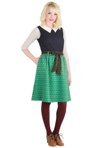 Country Giving Skirt - Knit, Mid-length, Green, Novelty Print, Pockets, Belted, Casual, A-line, Winter, Green, Spring, Fall