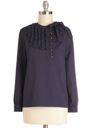 Tell Me in Calligraphy Top in Navy - Blue, Solid, Buttons, Ruffles, Work, Long Sleeve, Better, Mid-length, Woven, Bows, Crew, Blue, Long Sleeve