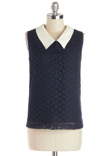 Brunch to Bookstore Top - Blue, Tan / Cream, Solid, Lace, Peter Pan Collar, Work, Sleeveless, Better, Knit, Mid-length, Collared, Blue, Sleeveless, Lace