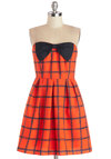 Tasting Date Dress - Red, Blue, Bows, Pleats, Casual, A-line, Strapless, Good, Chiffon, Woven, Mid-length, Checkered / Gingham, Daytime Party, Sweetheart