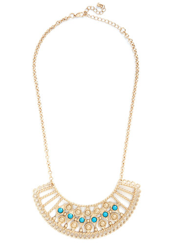 Chic and Find Necklace - Blue, Solid, Gold, Good