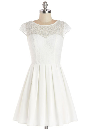 Elite the Way Dress - White, Solid, Lace, Pleats, A-line, Cap Sleeves, Better, Scoop, Sheer, Knit, Woven, Mid-length, Party, Wedding, Bride, Lace