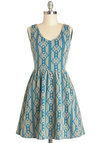Worth Your Tile Dress - Print, Casual, A-line, Tank top (2 thick straps), Good, V Neck, Knit, Short, Multi, Blue, Tan / Cream