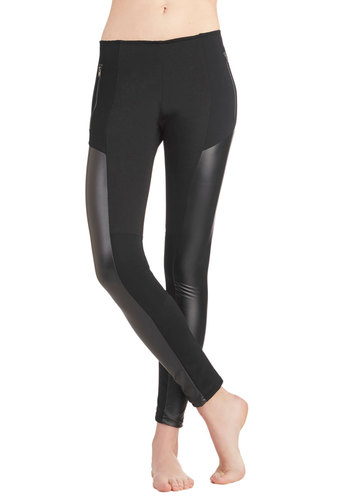 Versatility at Its Finest Leggings - Knit, Solid, Exposed zipper, Urban, Better, Mid-Rise, Ankle, Black, Black, Pockets, Skinny, Faux Leather