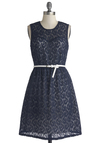 Paisley at the Party Dress by Tulle Clothing - Blue, White, Lace, Belted, Party, A-line, Sleeveless, Exclusives, Scoop, Sheer, Knit, Woven, Mid-length, Lace