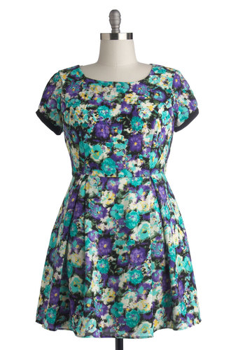 Winning Watercolors Dress in Plus Size - Woven, Multi, Floral, Cutout, Casual, A-line, Short Sleeves, Better, Scoop, Pleats