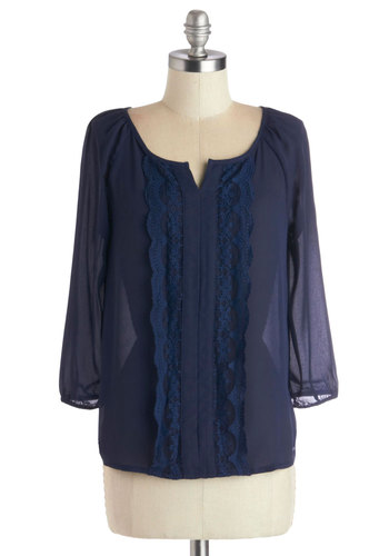 Book Blurb Top - Blue, Solid, Lace, Casual, Better, Chiffon, Sheer, Woven, Mid-length, 3/4 Sleeve, Blue, 3/4 Sleeve, Lace