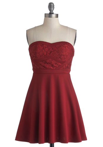 Fashionably Lace Dress - Knit, Short, Red, Solid, Lace, Party, A-line, Strapless, Good, Sweetheart, Valentine's