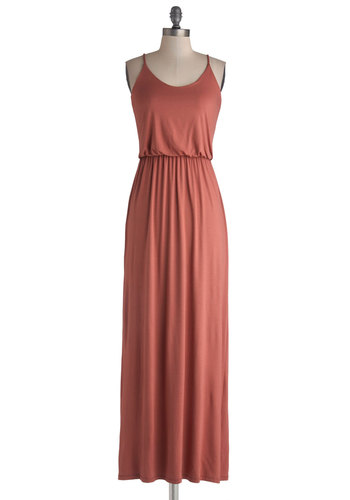 Late-Day Lounging Dress - Jersey, Knit, Long, Solid, Casual, Maxi, Spaghetti Straps, Good, Scoop, Orange, Minimal