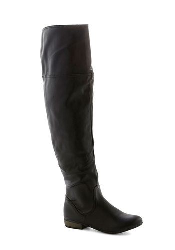 Time for You Boot - Low, Faux Leather, Black, Solid, Good, Minimal, Over the Knee