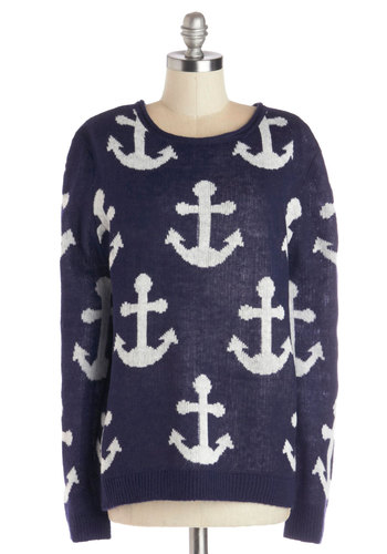 Captain Brunch Sweater - Knit, Mid-length, Novelty Print, Casual, Nautical, Better, Crew, Blue, Long Sleeve, Blue, White