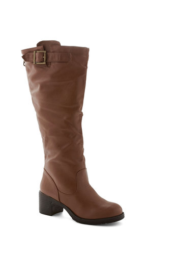 Charming Pacesetter Boot - Mid, Faux Leather, Solid, Buckles, Good, Brown