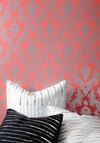 Bryant Park Temporary Wallpaper - Coral, 20s, Dorm Decor, Steampunk, Best, Silver, Print