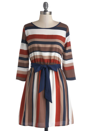 Sending Good Vibes Dress - Chiffon, Woven, Short, Multi, Stripes, Belted, Casual, A-line, Long Sleeve, Good, Fall, Scoop