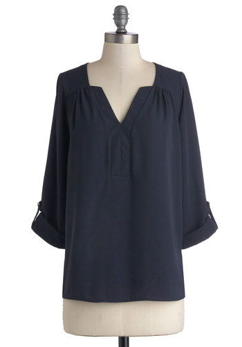 Strike It Lucky Top - Woven, Mid-length, Solid, Casual, Minimal, Good, V Neck, Blue, Tab Sleeve, Chiffon, Blue