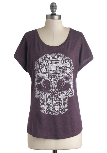 Unlock the Coolness Top - Purple, Casual, Urban, Short Sleeves, Better, Scoop, Jersey, Knit, Mid-length, Novelty Print, Skulls, Purple, Short Sleeve, White