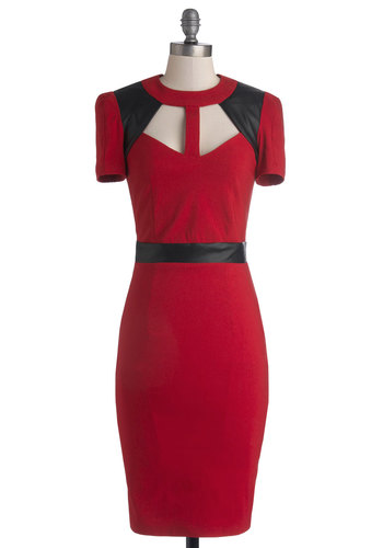 Just What Unique Dress - Knit, Faux Leather, Long, Red, Black, Cutout, Girls Night Out, Shift, Short Sleeves, Better, Pinup, Crew
