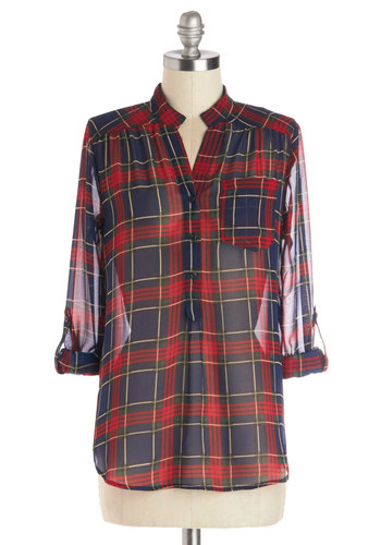 Living Room Lodging Top in Red Pine - Chiffon, Sheer, Woven, Mid-length, Plaid, Buttons, Pockets, Casual, Rustic, Button Down, Long Sleeve, Blue, Good, Blue, Tab Sleeve