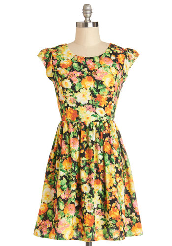 Tide and Joy Dress in Floral - Multi, Backless, Bows, A-line, Cap Sleeves, Good, Scoop, Woven, Spring, Yellow, Variation, Short, Casual, Press Placement