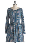 A Fun Deal Dress - Print, Casual, A-line, Long Sleeve, Good, Scoop, Jersey, Cotton, Knit, Short, Blue, Tan / Cream, Gifts Sale