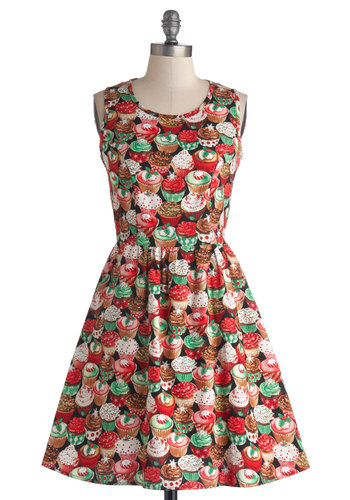 The Lady Brunch Dress in Cupcakes - Novelty Print, Casual, Holiday, Statement, Quirky, A-line, Tank top (2 thick straps), Better, Scoop, Exclusives, Mid-length, Woven, Multi, Pockets, Variation, Gifts Sale