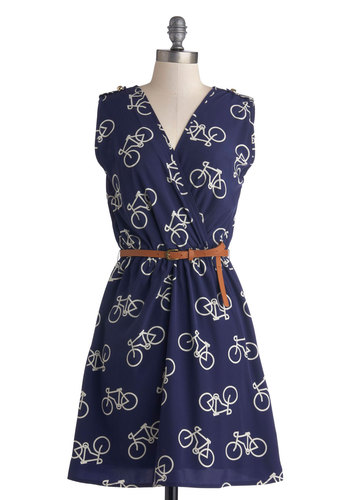 Ride Here, Right Now Dress in Blue - Novelty Print, Belted, Casual, A-line, Sleeveless, Good, V Neck, Mid-length, Woven, Blue, White, Epaulets, Gifts Sale