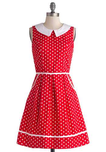 All Eyes on Unique Dress in Dotty - Red, White, Polka Dots, Pockets, Casual, Vintage Inspired, A-line, Sleeveless, Better, Exclusives, Variation, Collared, Cotton, Woven, Peter Pan Collar, 50s, Gifts Sale, Valentine's, Top Rated, Mid-length