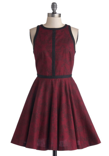 Minimalist is More Dress in Wine by BB Dakota - Red, Black, Floral, Trim, Party, A-line, Sleeveless, Exclusives, Crew, Cotton, Woven, Mid-length, Gifts Sale, Show On Featured Sale, Fall