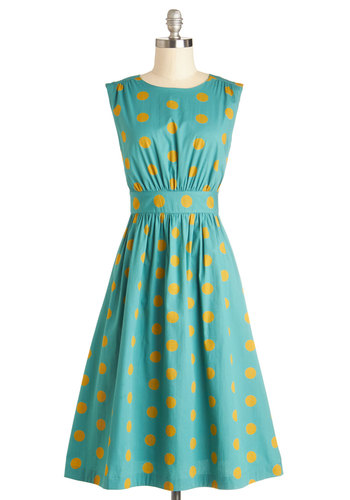 Too Much Fun Dress in Gold Dots - Long by Emily and Fin - Blue, Yellow, Polka Dots, Casual, Rockabilly, Vintage Inspired, 50s, Fit & Flare, Sleeveless, Better, Boat, International Designer, Cotton, Woven, Long, Daytime Party, Gifts Sale, Sundress
