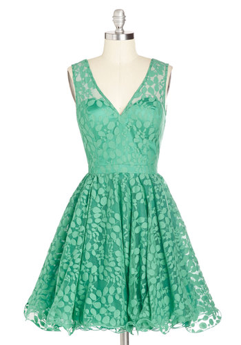 Darling, Please Dress in Jade - Woven, Mid-length, Sheer, Green, Solid, Party, Fit & Flare, Sleeveless, Better, V Neck, Lace, Gifts Sale, Wedding, Bridesmaid, Prom, Lace