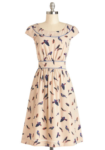 Day After Day Dress in Aviary by Emily and Fin - Multi, Print with Animals, Casual, A-line, Cap Sleeves, Better, Scoop, Woven, Long, Pockets, Variation, Gifts Sale, International Designer, Top Rated, Critters, Bird, Woodland Creature