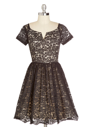 Fine-tune Your Flounce Dress - Black, Tan / Cream, Lace, Party, Cocktail, Holiday Party, Short Sleeves, Better, V Neck, Mid-length, Woven, Sheer, Vintage Inspired, 50s, Fit & Flare, Gifts Sale, Lace