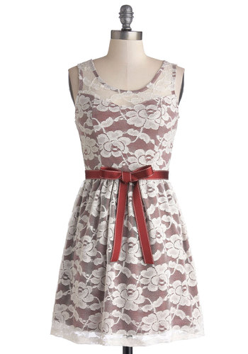 Abundant Beauty Dress - Lace, Belted, Party, A-line, Tank top (2 thick straps), Good, Scoop, Short, Woven, Sheer, Multi, Red, White, Gifts Sale, Lace