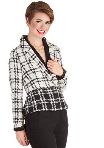 Admiring Artifacts Blazer - Plaid, Good, Short, 1, Buttons, Work, Collared, Long Sleeve, White, Pockets, Multi