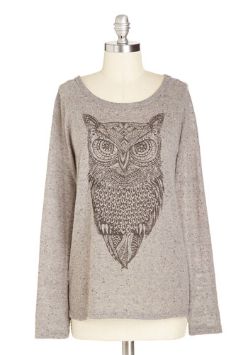 Look Hoots Here Top - Grey, Print with Animals, Long Sleeve, Better, Knit, Mid-length, Casual, Critters, Fall, Scoop, Owls, Grey, Long Sleeve, Gifts Sale