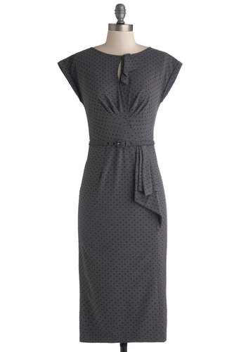 Once and For All Dress in Charcoal by Stop Staring! - Woven, Long, Grey, Black, Polka Dots, Belted, Work, Sheath / Shift, Cap Sleeves, Best, Vintage Inspired, 40s, 50s, Variation