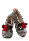 For Feet's Sake Slippers in Monkey - Flat, Knit, Grey, Print with Animals, Tassles, Quirky, Critters, Multi