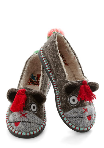 For Feet's Sake Slippers in Monkey - Flat, Knit, Grey, Print with Animals, Tassels, Quirky, Critters, Multi