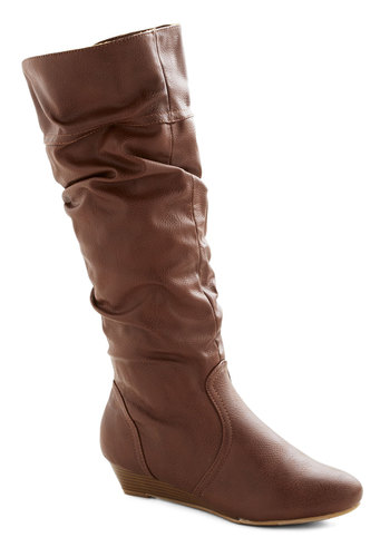 Toffee Date Boot - Tan, Solid, Ruching, Low, Faux Leather, Wedge